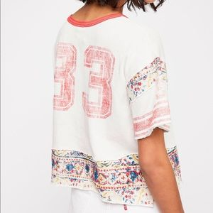 NWT Free People Football Cropped Graphic Tee Small